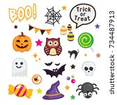happy halloween elements on... | Shutterstock .eps vector #734487913