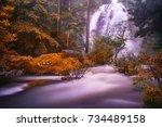 khlong lan waterfall in khlong... | Shutterstock . vector #734489158