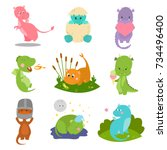 cute kid baby dragon dinosaur... | Shutterstock .eps vector #734496400