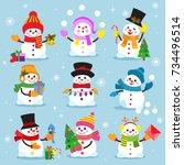 snowman cartoon winter... | Shutterstock .eps vector #734496514
