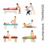 massage procedure people beauty ... | Shutterstock .eps vector #734496520