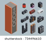 home isometric sound system... | Shutterstock .eps vector #734496610