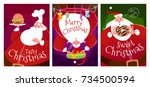 three christmas cards with... | Shutterstock .eps vector #734500594