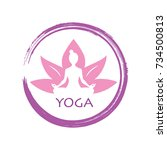 lotus yoga zen vector logo... | Shutterstock .eps vector #734500813