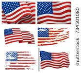 independence day usa flags... | Shutterstock .eps vector #734501080