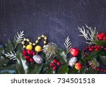christmas black concrete... | Shutterstock . vector #734501518
