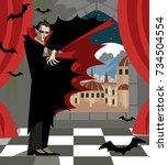 dracula vampire evil villain... | Shutterstock .eps vector #734504554