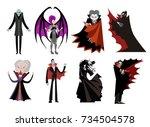 dracula vampire evil villain... | Shutterstock .eps vector #734504578