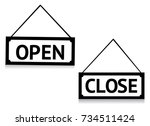 open and close symbols | Shutterstock .eps vector #734511424