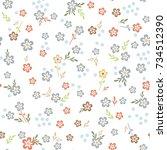 seamless floral texture. cute... | Shutterstock .eps vector #734512390