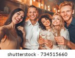 group of friends party together ... | Shutterstock . vector #734515660