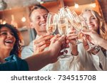 group of friends party together ... | Shutterstock . vector #734515708