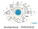 banking service and finance... | Shutterstock .eps vector #734524210