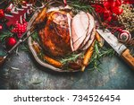 christmas ham served with... | Shutterstock . vector #734526454