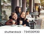 children having fun in outdoor... | Shutterstock . vector #734530930