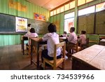thai primary students taking a... | Shutterstock . vector #734539966