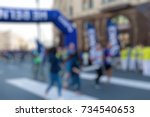 marathon in the city theme...   Shutterstock . vector #734540653