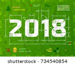new year 2018 as technical... | Shutterstock .eps vector #734540854