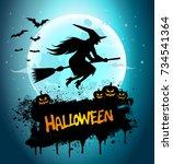 halloween night background... | Shutterstock . vector #734541364