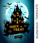 halloween night background... | Shutterstock . vector #734541370