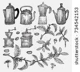 hand drawn vintage coffee set.... | Shutterstock .eps vector #734542153