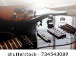 electric guitar macro abstract  | Shutterstock . vector #734543089