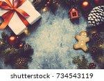 christmas vintage background ...   Shutterstock . vector #734543119