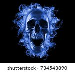 Skull In Blue Fire Wallpaper 3d ...