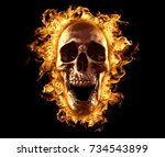 Skull Burned In Fire Wallpaper...