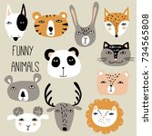 funny hand drawn animals. cute... | Shutterstock .eps vector #734565808