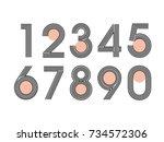 element  set of ten numbers... | Shutterstock .eps vector #734572306