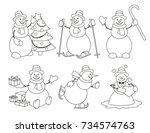 set of winter cartoon snowman... | Shutterstock .eps vector #734574763