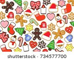 colorful christmas cookies | Shutterstock . vector #734577700
