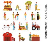 autumn harvest time on farm... | Shutterstock . vector #734578306