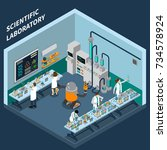 science isometric concept with... | Shutterstock . vector #734578924