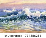 Landscape With Sea Coast  Wave...