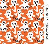seamless halloween holiday... | Shutterstock .eps vector #734587018