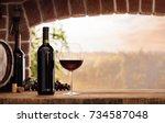 red wine tasting in the wine... | Shutterstock . vector #734587048