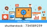 digital marketing  campaign ... | Shutterstock .eps vector #734589259