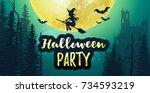 vector stock halloween party... | Shutterstock .eps vector #734593219