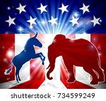a donkey and elephant in... | Shutterstock .eps vector #734599249