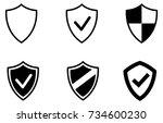 black web security shield... | Shutterstock .eps vector #734600230