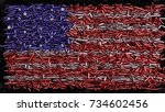 usa flag formed out of bullets  ... | Shutterstock . vector #734602456