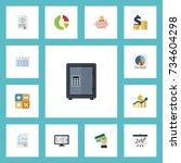 flat icons sheet  safe  pie bar ... | Shutterstock .eps vector #734604298