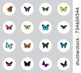 realistic monarch  beauty fly ... | Shutterstock .eps vector #734604544