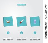 flat icons bulletproof  weapon  ... | Shutterstock .eps vector #734605999