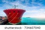 large oil tanker  oil tanker... | Shutterstock . vector #734607040