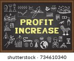 hand drawn icons about profit... | Shutterstock .eps vector #734610340