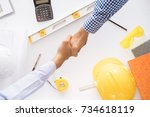 top view of asian construction... | Shutterstock . vector #734618119