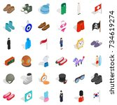 mode icons set. isometric style ... | Shutterstock .eps vector #734619274
